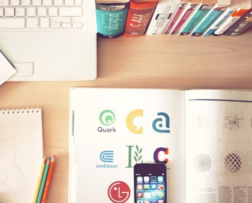 Desk of a marketing professional